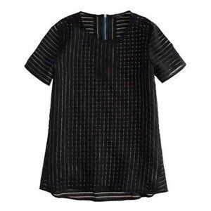 J Crew Black Shadow Striped Sheer Top Short Sleeve